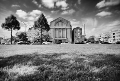 Lawndale Church BW (K. McMahon) Tags: greatergallileebaptistchurch architecture baptist blackandwhite boulevard building church clouds columns cross independeceboulevard lawndale monochrome northlawndale sky tree westside
