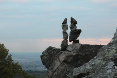 Friends in high places (Andrew 62) Tags: rockbalance beaconhill sky rocksculptures leicestershire landscape tree