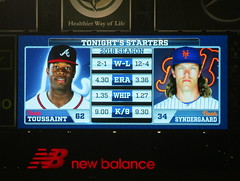 Citi Field, 09/25/18 (NYM v ATL): tonight's starting pitchers and their statistics, as shown on the right field scoreboard - Touki Toussaint for Atlanta, Noah Syndergaard for New York (IMG_3464a) (Gary Dunaier) Tags: baseball stadiums stadia ballparks mets newyorkmets flushing queens newyorkcity queenscounty queensboro queensborough citifield