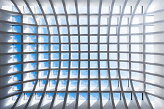 Grid (Maerten Prins) Tags: duitsland germany berlin berlijn up upshot grid roof ceiling lines curves blue sky sun shadow galeria high key white light line curve abstract symmetry symmetrical geometry geometric architecture artitecture building skylight