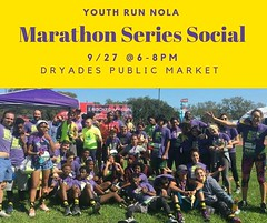 Join us tomorrow for Marathon Series Social at @dryadesmarket. Come hang out and learn more about our Marathon Series this year and find your fit training alongside a youth runner for a 10k, half marathon or full marathon. #rnrNOLA #community https://t.co (YouthRunNOLA) Tags: youthrun running youth empowerment nola