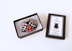 Kogin Embroidered Moth Brooch (hine) Tags: moth brooch pin embroidery insect bug etsy handmade hinemizushima craft fibreart