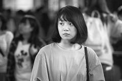 Kyoto Street (Andrew Allan Jpn) Tags: red street girl japanesegirl blackandwhite monochrome travel candid k3 pentaxart pentaxk3 da 55300 beauty cute eyes look