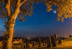 Graveyard shift (Ian Toms) Tags: 2018 castelchurch nightphotography guernsey guernseylife guernseystyle nightshot moon grave yard trees stars church locateguernsey visitguernsey longexposure channelislands sky skyporn