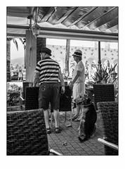 Regard sur un passé dépassé. (francis_bellin) Tags: 2018 chapeau andalousie streetphoto street nerja photoderue chien noiretblanc monochrome bw rue olympus touristes octobre blackandwhite espagne