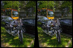 Roadside Chrome 3-D / CrossView / Stereoscopy / HDRi / Raw (Stereotron) Tags: saxony sachsen dresden elbflorenz motorrad harleydavidson motorcycle kraftrad chrome glanz bus dvb streetphotography urban citylife deutschland germany europe cross eye view xview crosseye pair free sidebyside sbs kreuzblick bildpaar 3d photo image stereo spatial stereophoto stereophotography stereoscopic stereoscopy stereotron threedimensional stereoview stereophotomaker photography picture raumbild twin canon eos 550d remote control synchron kitlens 1855mm 100v10f tonemapping hdr hdri raw