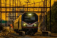 Amtrak Northeast Regional going past Tacony Station (Krtz07) Tags: amtrak northeast regional philadelphia rail railfanning america siemens acs64 septa fallage sunset sun afternoon highspeedrail