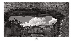 Looking through a ruin (krishartsphotography) Tags: krishnansrinivasan krishnan srinivasan krish arts photography monochrome fine art fineart wall old ruin abandoned broken brick visible plant sky clouds people walking silhouette temple vimana gopuram compound affinity photo dindigul fort tamilnadu india