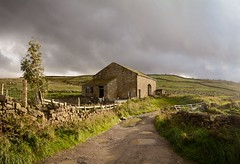 Derilict Barn (vesna1962) Tags: scenery landscape barn derilict abandonded lane road fields rain sunshine puddles rural countryside sky moody clouds stanbury haworth brontëcountry westyorkshire england