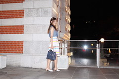 Blue sleeveless shirt and Striped skirt_5 (Kyoko Matsushita) Tags: 松下恭子 パンスト 脚 フェチ fétiche fetisch fetish фетиш tgirl crossdresser crossdressing transvestite cd tv minidress pantyhose stockings nylon strumpfhose collant колготки jambes beine legs asian kyoko matsushita