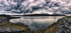 RyaPano (knutmsa) Tags: rystraumen hella panorama hdrefexpro2 iphonese seascape dramaticsky seacurrent snowcoveredmountains bensjordtind malangen ryøya