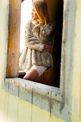 Mikayla (austinspace) Tags: woman model spokane washington abandoned trailer mobile home homes stripped fashion summer smoke fire blond blonde