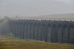 A wet morning at Ribblehead (Geoff Dickinson) Tags: class66 railways ribbleheadviaduct settlecarlisleline