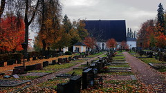 EOL (G3nie) Tags: canoneos1100d efs24mmf28stm finland aspectratio169 church grave graveyard autumn burial tree path nature leaves leaf red orange death architecture headstone pojo pohja gloomy dead dreary funeral corpse grass wood sky building stonechurch 15thcentury medieval middleages