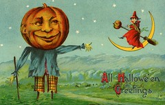 All Halloween Greetings—Jack-o'-Lantern Scarecrow and Witch with Crescent Moon (Alan Mays) Tags: ephemera postcards greetingcards greetings cards paper printed halloween holidays october31 jackolanterns pumpkins witches women witchhats hats clothes clothing broomsticks brooms scarecrows pumpkinheads anthropomorphic anthropomorphism moons crescentmoons halfmoons stars skies night nighttime mountains landscape illustrations orange blue green yellow red 1910 1910s antique old vintage typefaces type typography fonts
