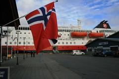 Docked at the top of Norway (bigjon) Tags: norway arctic scandinavia hurtigruten ship norse flag kirkenes harald