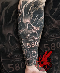 Realistic Skull Bio Organic Mech California interstate 580 Cali Black and grey Sleeve Tattoo by Jackie Rabbit