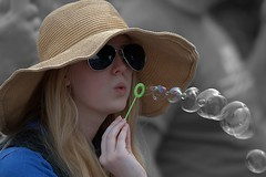 Bubbling (Scott 97006) Tags: girl female lady shades bubbles hat pretty blonde blow