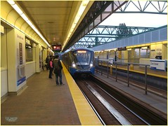 New Westminster Morning SkyTrain BC18j10 LG (CanadaGood) Tags: canada bc britishcolumbianewwestminster building architecture skytrain station train track people person canadagood 2018 thisdecade color colour cameraphone morning