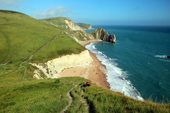 South West Coastal Path, Dorset (iwys) Tags: south west coastal path footpath coast scenery dorset english england cliffs chalk grass sea blue green sandy beach