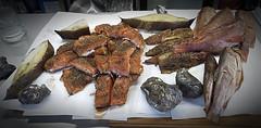Frisch aus dem Rauch (ingrid eulenfan) Tags: fisch fish geräuchert smoked lebensmittel foods makrele heilputt hering rotbarsch