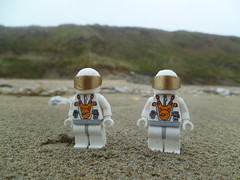 Astronauts on Planet but wet conditions. (Working hard for high quality.) Tags: rain weather lego space astronaut sand cloud wind grass stone pebble effect water wet grey white