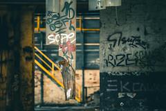 Dirty stripes (ElmerstarK) Tags: factory urbex exterieur abandoned color deserté dirty sale deserted outdoor metalic contrast usine abandonné unieux auvergnerhônealpes france fr