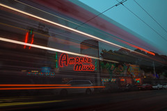 Sound waves (KurteeQue) Tags: music amoeba sanfrancisco california lighttrails lightstreaks urban city record store strip bus pass passing blue sky street nikon nikond850 d850 iamnikon nikonusa