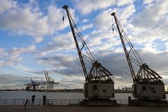 Kräne - gestern und heute (Frank S (aka Knarfs1)) Tags: hafen harbour hamburg sea see port deutschland