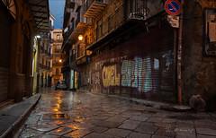 Quiet street (W.MAURER foto) Tags: italy sizilien italien street colors pavement reflection palermo dusk dämmerung rollladen graffiti gasse gassen pflastersteine kopfsteinpflaster nikond800 tamron1530mmf28 tamron tamron1530mmf28vc laternen regen rainy rain düster shadow sicily