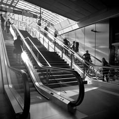 Up and Down (ucn) Tags: rolleiflexsl66 agfacopexrapid berlin hauptbahnhof street distagon50mmf4 filmdev:recipe=11958 adoxadoluxatm49 developer:brand=adox developer:name=adoxadoluxatm49