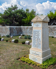 HMS Agamemnon Memorial - East Moudros Military Cemetery (Limnos - Greece) (Olympus OM-D EM1-II &  M.Zuiko 12-40mm f2.8 Pro Zoom) (1 of 1) (markdbaynham) Tags: greece greek limnos lemnos eastmoudros moudros militarycemetery cemetery grecia greka greekholiday gr memorial historic northaegean northaegeanisland olympus omd olympusomd olympusgreece olympusem1 olympusmft mft m43 1240mm f28 em1 em1mk2 em1mark2 em1mkii olyem1 mirrorless csc evil travel ww1 dardenelles graveyard microfourthird microfourthirds micro43 mzd zd mz mzuiko zuikolic m43rd warmemorial military