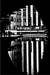 Reflection -  from the V&A, Dundee BW (ronramstew) Tags: scotland dundee water reflection bw blackandwhite linear va victoriaandalbert design museum