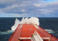 Copper Harbor Action (knutsonrick) Tags: greatlakes lakesuperior footer asc americansteamshipcompany mvindianaharbor bow bowspray waves wind