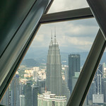 View of Petronas Twin Towers from KL Tower Observation Deck in Kuala Lumpur thumbnail