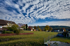 Cloudscape (b_hanakam) Tags: cloud cloudscape blue sky clouds color colors colorful landscape grass green meadow house houses fence sheep tree trees autumn fall bavaria germany franconia