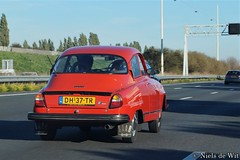1978 Saab 96L V4 (NielsdeWit) Tags: nielsdewit saab 96 l 96l v4 driving highway a12 dh37tr red swedish