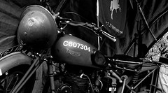 Triumph. Sept 2018 (SimonHX100v) Tags: 1940 1940s ruffordabbey britisharmy triumph war simonhx100v sonyhx100v hx100v historic history hat hats cap caps helmet blackandwhite blackwhite monochrome monotone greyscale grayscale bw bnw nottingham nottinghamshire motorbike army armedforces sonyflickraward homefront
