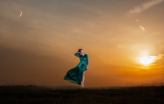 Moon, Lady and the Sun (Aprofolis) Tags: nikon d7100 nikkor 50mm f18g lens nature sunset sun moon outdoor flash photography strobe strobist woman girl lady clouds landscape portrait yongnuo 568ex 565ex mountain mountains dress posing poses pose fashion