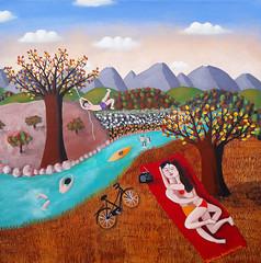 """""""UN PETIT COIN DE PARADIS"""" par Delphine BOCCACINO (Boccacino) Tags: delphineboccacino art naiveart eden love river couple games square 500x500 painting french bike vacation"""