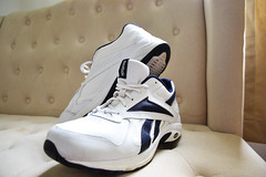 Shoes (RyanMandeville) Tags: white shoes shoe reebok cushion stripes old school blue fit outfit clothes hypebeast urban blueonwhite pose closeup close