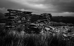 Upper Incline Drumhouse, Rhos Quarry (Rogpow) Tags: capelcurig rhosquarry slatequarry wales drumhouse inclinedrumhouse slate quarry pontcyfnyg blackandwhite bnw bw whiteandblack mono monochrome industrialhistory industrialarchaeology industrial industry incline abandoned derelict decay disused dilapidated ruin moody dark clouds fujifilm fuji fujixpro2 desolate