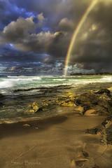 Pipeline Double Rainbow (smbrooks_2000) Tags: hawaii oahu northshore rainbow colors waves ocean pacificocean landscape seascape water beach sand sunsetbeach clouds storm sky sea