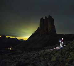 Light Darkness (Robyn Hooz) Tags: stelle trecime lavaredo autoritratto selfie sky light dark torcia pila buio notte luce inquinamento lightpollution dolomites dolomiti cime peaks rocks