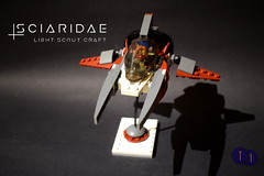 Sciaridae Light Scout Viper (Harding Co.) Tags: lego space scifi spaceship viper vic vv novvember nnovvember scout vehicle flying future wings white cockpit grey red black minifigure small