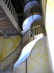 Spiral curves (lurcherlad) Tags: stair staircase spiral wood wooden bannister loft church light shadow aude france shade serpentine