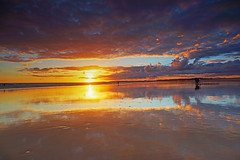 (Pedro dos Anjos) Tags: sunset beach sea water sky clouds sun light reflections mirror people yellow gold orange red blue pink white nature landscape photography photo seascape spring new fishing algarve portugal sony a77
