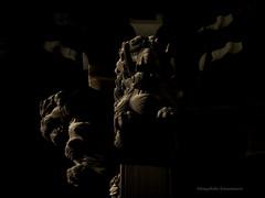 To glare at (Kazuhiko Kawamura photography) Tags: hasselblad carlzeiss phaseone 503cw macroplanarcfe120f4 p25 tokyo cityscape lightandshadow temple shibamata asia trip pillar lion culture mediumformat history digitalback documentary sculpture