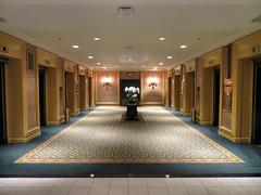 Elevator Bay, Royal York Hotel, Toronto, Ontario (duaneschermerhorn) Tags: hotel design interior elevators carpet gold blue urn