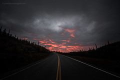 Sunset in the Ingraham Trail (josefrancisco.salgado) Tags: canada d5 nikon northwestterritories sigma sigma14mmf18dghsmart yellowknife atardecer carretera cloud clouds nube nubes ocaso puestadelsol road sunset fortsmithunorganized ca